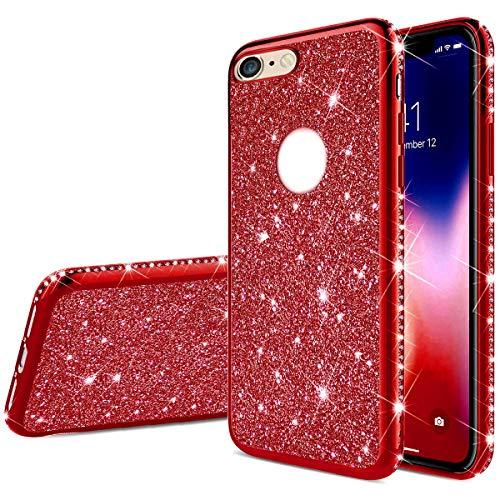 PHEZEN Case for iPhone 6 Plus Glitter Case,iPhone 6S Plus Case,Girl Women Bling Glitter Sparkle Crystal Diamond Rhinestone Bumper TPU Rubber Silicone Cover Protective Phone Case for iPhone 6 Plus,Red