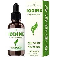 Iodine Drops (1-2 Year Supply) Vegan Nascent Liquid Iodine Supplement Solution - Supports Thyroid Health, Hormones…