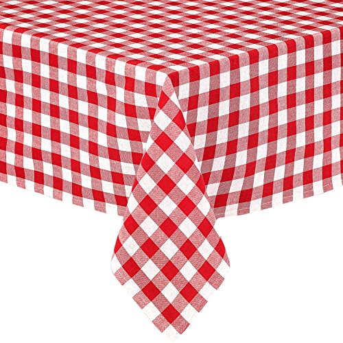 am Check Indoor/Outdoor Casual Cotton Tablecloth, Buffalo Plaid 100% Cotton Weave Kitchen, Patio and Dining Room Tablecloth, 52 x 70 Oblong/Rectangular, Red (Plaid Cotton Tablecloth)