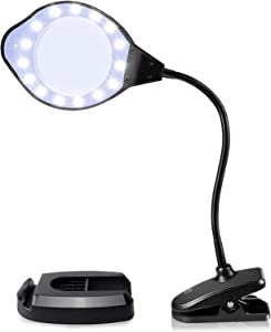 Joypea Magnifying Glass Lamp,2X-4X Magnifier LED Light with Clip and Flexible Neck,Magnifying Lamp USB Powered,Perfect for Reading,Hobbies,Task Crafts or Workbench-Black