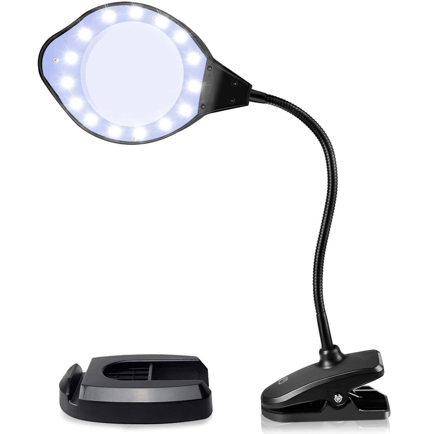 Joypea Magnifying Glass Lamp,2X-4X Magnifier LED Light with Clip and Flexible Neck,Magnifying Lamp USB Powered,Perfect for Reading,Hobbies,Task Crafts or Workbench- Black