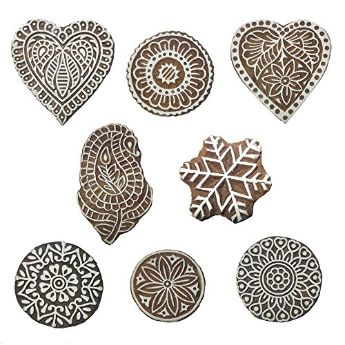 Hashcart Baren for Block Printing Stamps/Wooden Stamping Block/Handcarved Designer Craft Printing Pattern for Saree Border,Henna/Textile Printing,Scrapbooking,Pottery Crafts & Wall Painting,Set of 8 (Pottery Impressions)