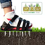 iShine Lawn Aerator Shoes Adjustable Metal Buckles and 8 Straps Heavy Duty Spiked Sandals for Aerating Your Lawn or Yard