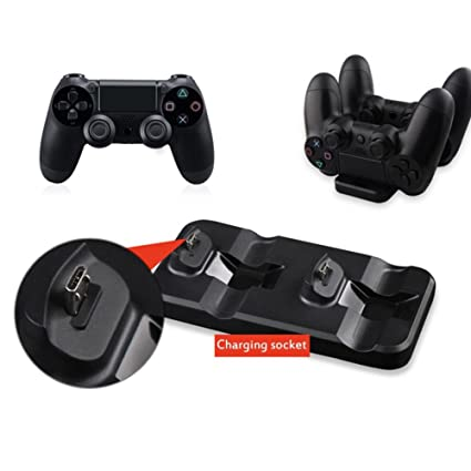 Purebesi Cargador Mando IV-P4003 PS4 Gamepad Cargador de escritorio, Doble base de carga para mandos Ora PS4, incluye fuente de alimentación (base de ...