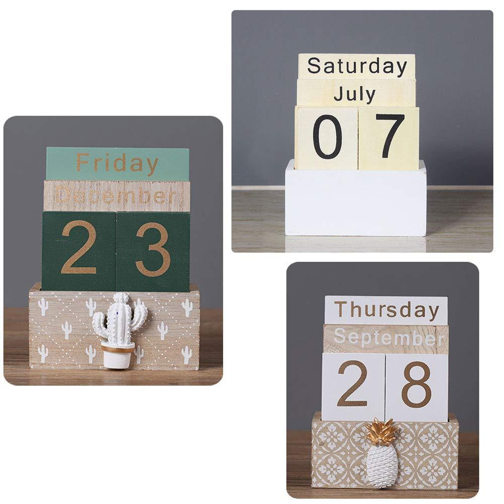 Amazon.com: Calendario perpetuo de madera de Buery, estilo ...