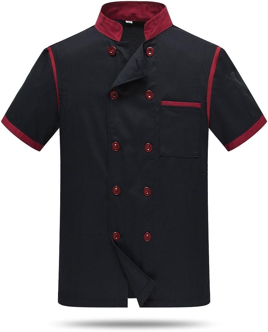 WAIWAIZUI Chef Jackets Waiter Coat Short Sleeves Back and Underarm Mesh