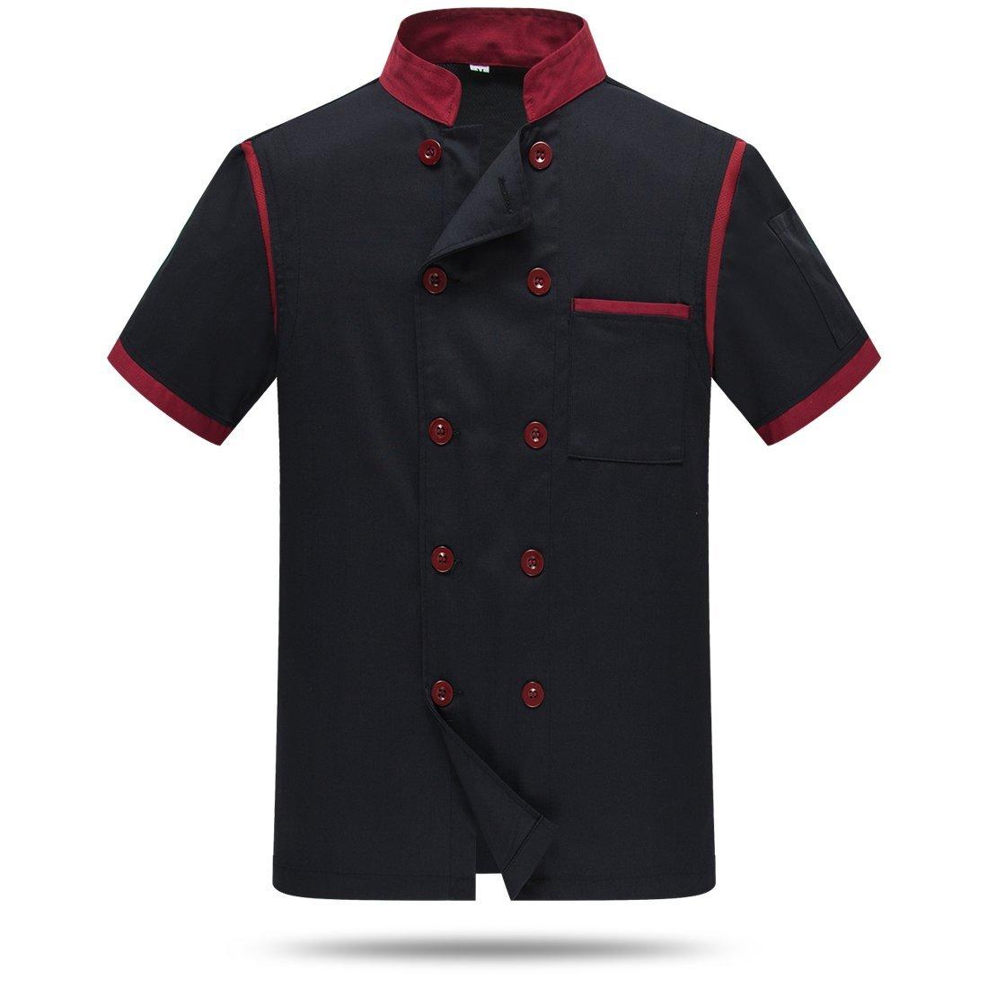 Chef Jackets Waiter Coat Short Sleeves Back and Underarm Mesh Size L (Label:3XL) Black by WAIWAIZUI