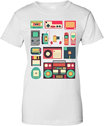 BakoIsland Retro Vintage Technology Illustration Camiseta de Mujer: Amazon.es: Ropa y accesorios