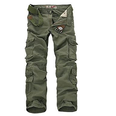 24b6fcd3c2b NiuZi Mens Loose Fit Cotton Casual Military Army Cargo Camo Combat Work  Pants (28
