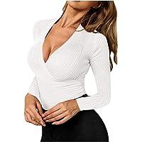 Jersey Suéter Elegante para Mujer,Sólido Ligero y Elásticas Suaves Géneros de Punto,Suéter Mujer Cuello en V con Hombros…