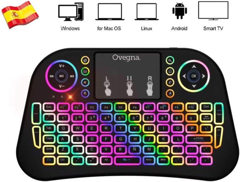 Ovegna i10: Mini Teclado inalámbrico de 2.4Ghz, QWERTY español, inalámbrico ergonómico con Panel táctil - para Smart TV, Mini PC, HTPC, Consola, PC con Windows, Android, MacOS, Linux