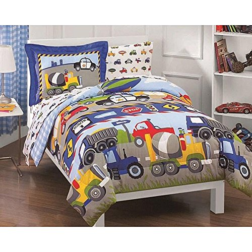 Colorful Boys Twin Trucks And Tractors 5 Piece Bag In A Bag With Soft Sheet Set Beautiful Reversible Cute Car Bedding Cozy Fabric Comfortable Sleep Great Graphics Fun Bright Design For Bedroom (Happy Chic Nina)