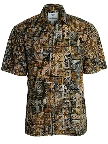 Price comparison product image Artisan Outfitters Mens Outer Banks Batik Cotton Shirt A0214-18 (3XLT,  Desert Khaki)