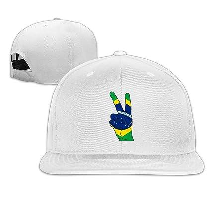 04578392dbb Peace Sign of Brazil Flag Plain Adjustable Snapback Hats Men s Women s  Baseball Caps at Amazon Men s Clothing store