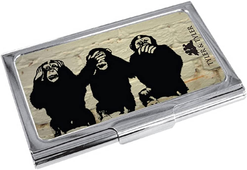 Cream//Black//Silver Tyler and Tyler Mens White Brick Three Wise Monkeys Business Card Holder