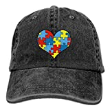 Autism Awareness Heart Vintage Washed Dyed Cotton Twill Low Profile Adjustable Baseball Cap Black