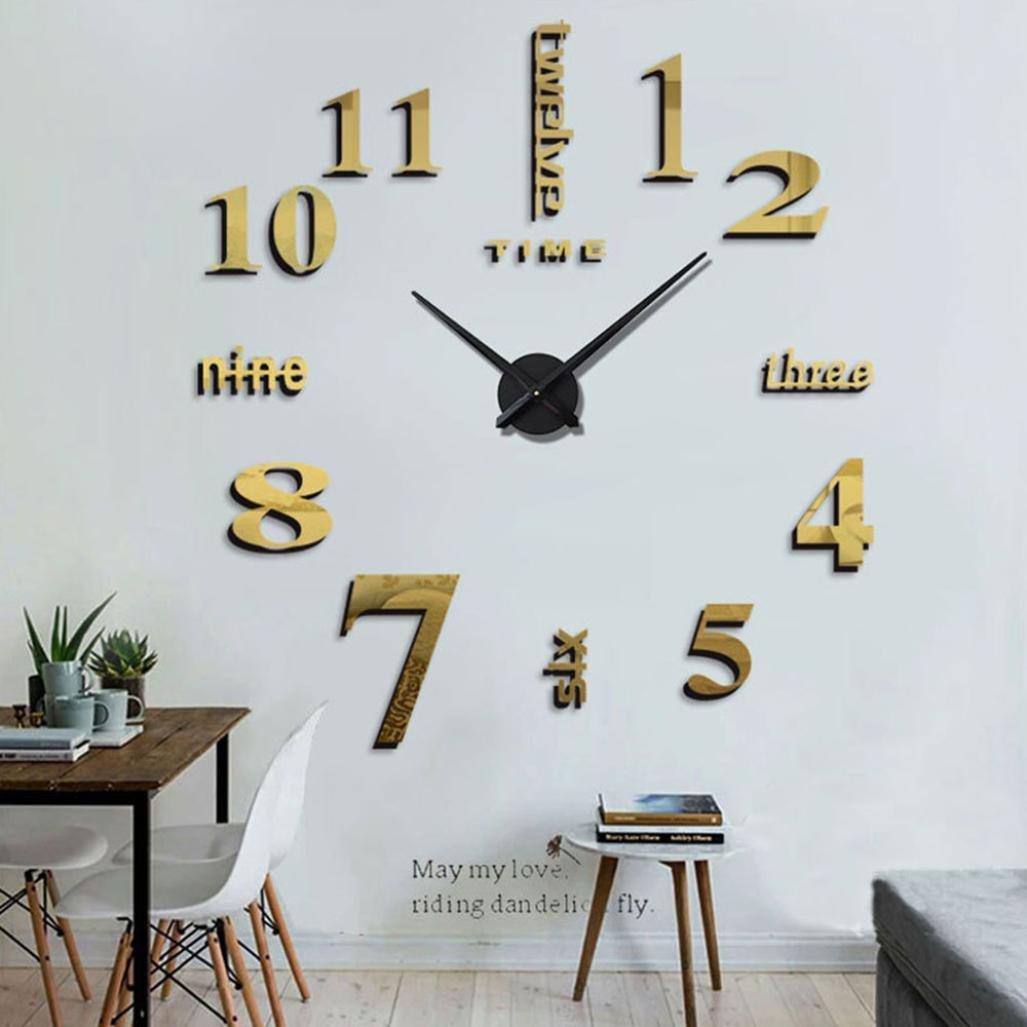 Hunpta@ Acrylic Modern 3D DIY Large Wall Clock Surface Sticker Home Office Art Decor (Gold)