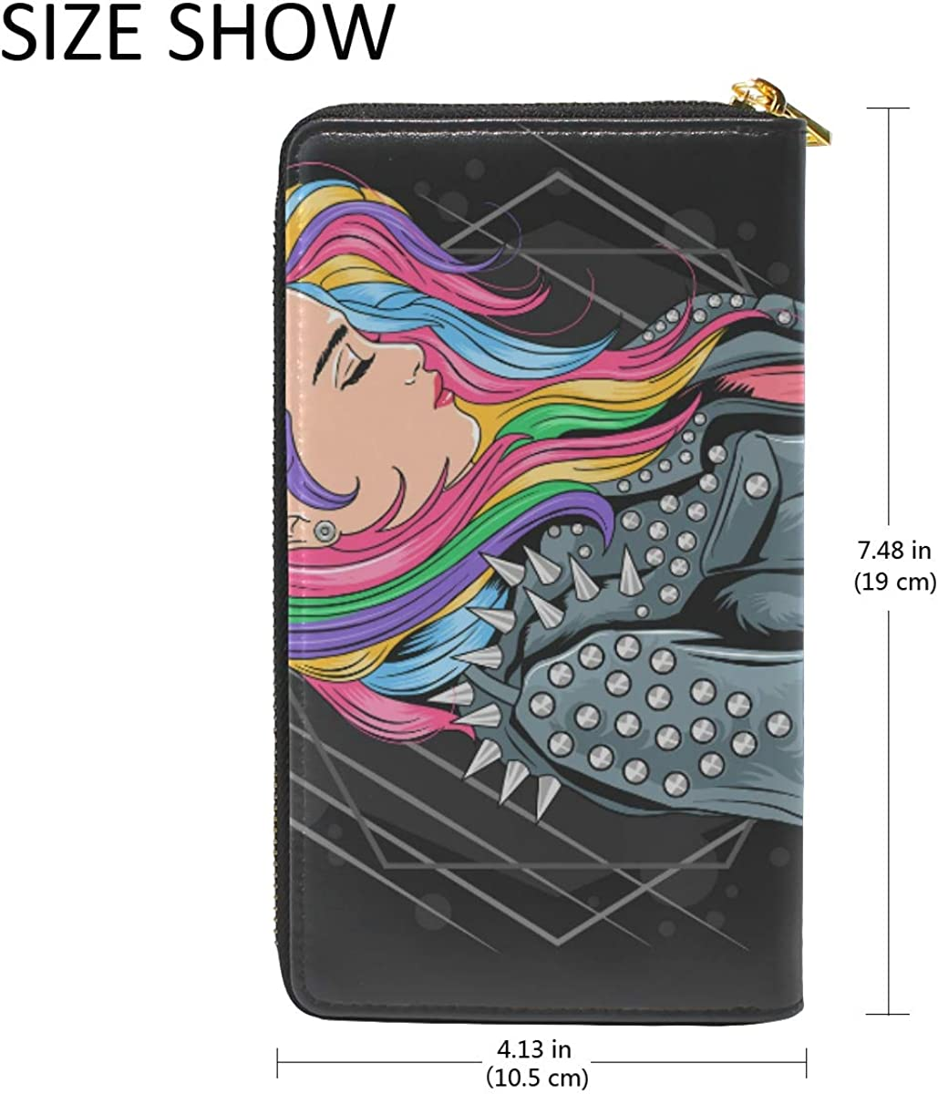 Girl Unicorn Hair Punk Style Wallet Real Leather Purse Credit Card Holder for Women Phone Girl