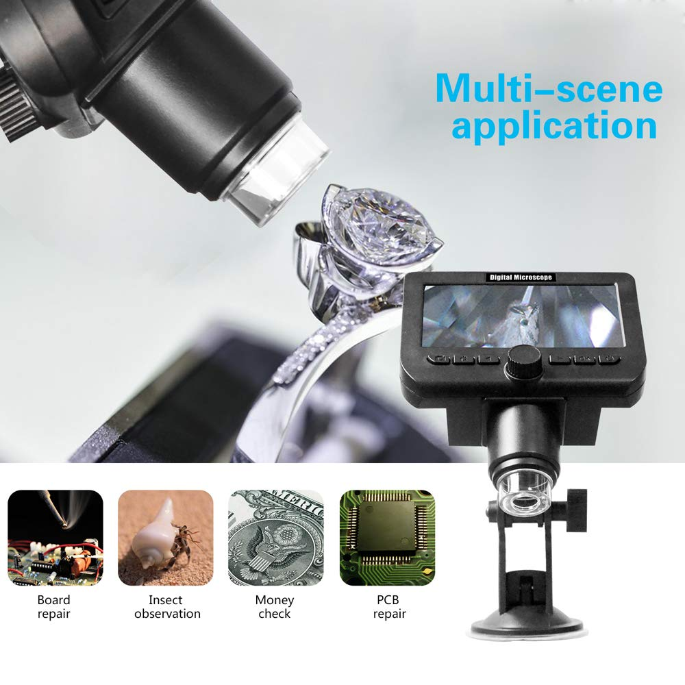 1000x 8-LED Magnifier for Circuit Board Repair Soldering 2.0MP Pixels 50x Built-in Battery Roeam USB Wireless Microscope Freely Rotatable Stand with Suction Cup
