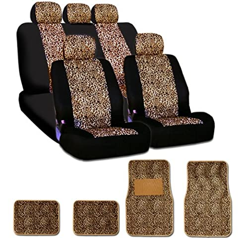 New and Unique YupbizAuto brand Safari Cheetah Print Universal Size Car Truck SUV Seat Covers and Floor Mats Set Velour and Mesh Material Gift Set Smart Pocket (Safari Print Seat Covers)