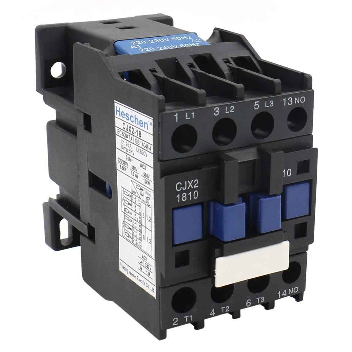Heschen AC Contactor CJX2-1810 bobina de 220 V 50/60 Hz 3P 3 polos normalmente abierto 660 V 32 A