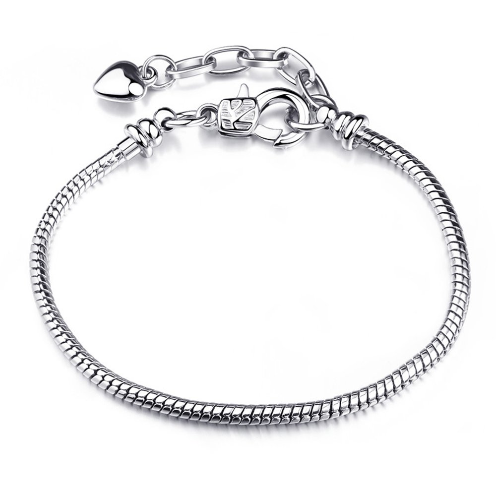 CHOOOICE Womens Silver Chain Bracelet Style Snap Clasp Holiday Gifts Fits Troll Chamilia Carlo Biagi Zable Charms Beads for girl