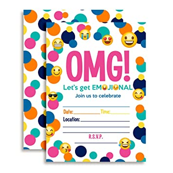 Amazon emoji birthday party invitations ten 5x7 fill in emoji birthday party invitations ten 5quotx7quot fill in cards with 10 white filmwisefo Gallery
