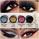 4pc GlitterWarehouse Loose Glitter Powder for Eyeshadow Body Art + E.l.f Elf Glitter Glue