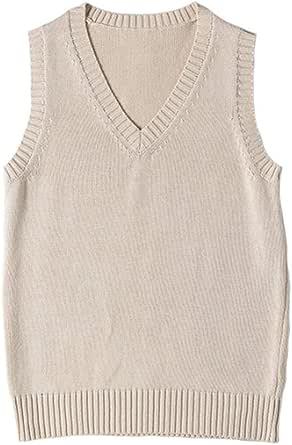 WOOKIT Chaleco de Uniforme JK de Color Liso Cuello Pico Chaleco de Punto algodón Abrigo Estilo japonés