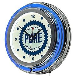Trademark Gameroom Pure Oil Wordmark Chrome Double Rung Neon Clock