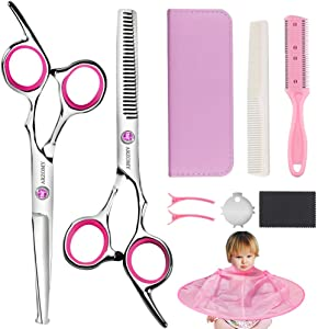 Hair Cutting Scissors Kit,Professional Hair Cutting Scissors Hair Thinning Shears with Kids Haircut Cape,Comb,Clips for Barber, Salon, Home