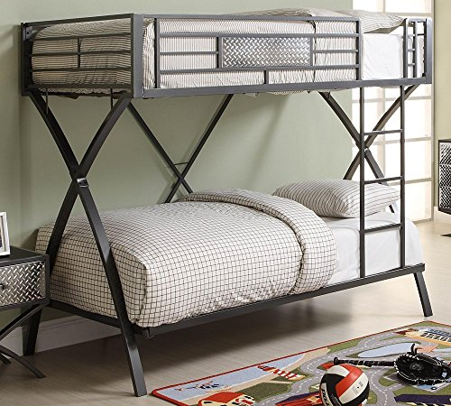 Homelegance Spaced Out Metal Twin Over Twin Futuristic X-Frame Bunk Bed, (Homelegance Modern Bed)