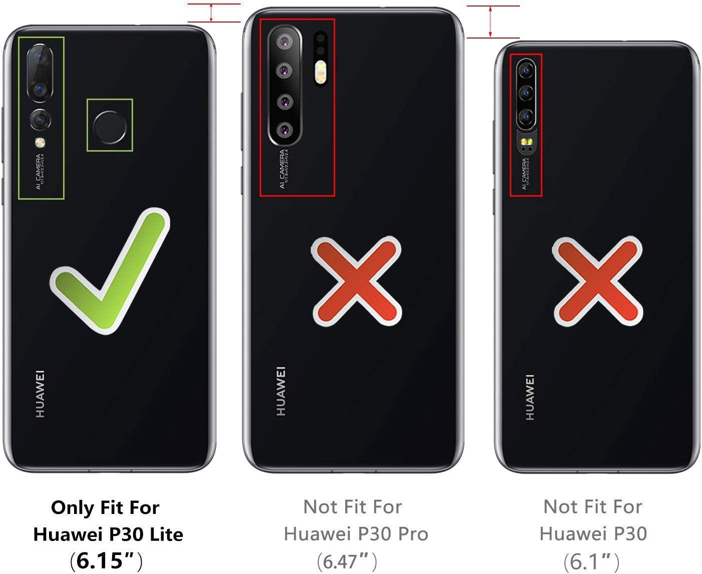 Noir XTCASE Collier pour Huawei P30 Lite Coque Tour de Cou Lani/ère en Corde Etui de T/él/éphone avec Cordon Transparente Silicone Housse avec Cordage Lanyard Case