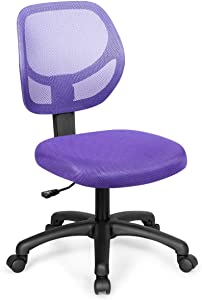 Giantex Low-Back Computer Desk Chair, Swivel Armless Mesh Task Office Chair Adjustable Home Children Study Chair w/Adjustable Height & Lumbar Support (Purple)