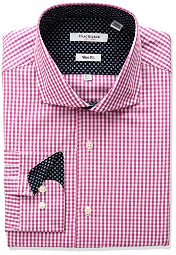 isaac-mizrahi-mens-slim-fit-classic-gingham-cut-away-collar-dress-shirt-cherry-175-neck-34-35-sleeve