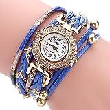 Tootu Women Fine Leather Band Winding Analog Quartz Movement Wrist Watch (Blue)