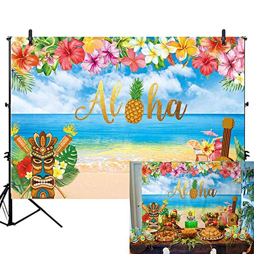 - Allenjoy 7x5ft Summer Aloha Luau Party Backdrop for Tropical Hawaiian Beach Photography Background Sea Palm Birthday Musical Party Baby Shower Banner Decoration Cake Table Photo Studio Booth Props