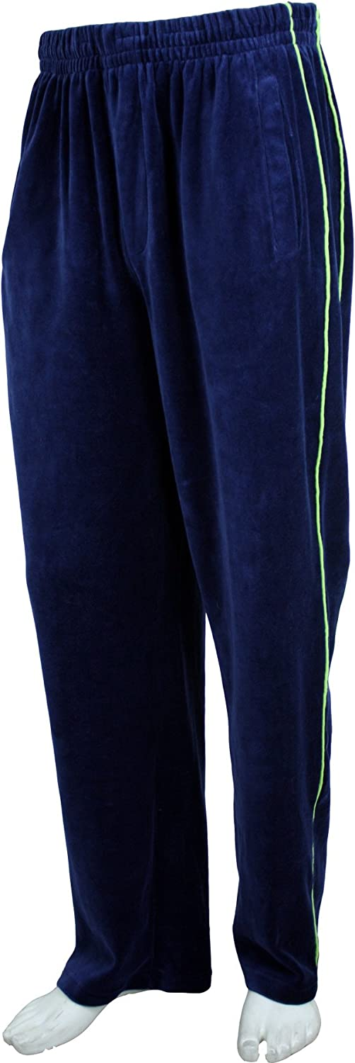 Men/'s Casual Lounge Velour Velvet Track Set Shirt and Track Pants with Stripe