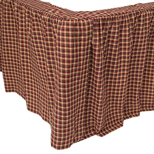 ON Red Tan Blue Plaid Pattern Bed Skirt Twin Size, Elegance All Over Classic Gingham Checkered Design Ruffled Bed Valance, Classic Casual Rustic Style, Vibrant Colors, Cotton, Machine Wash