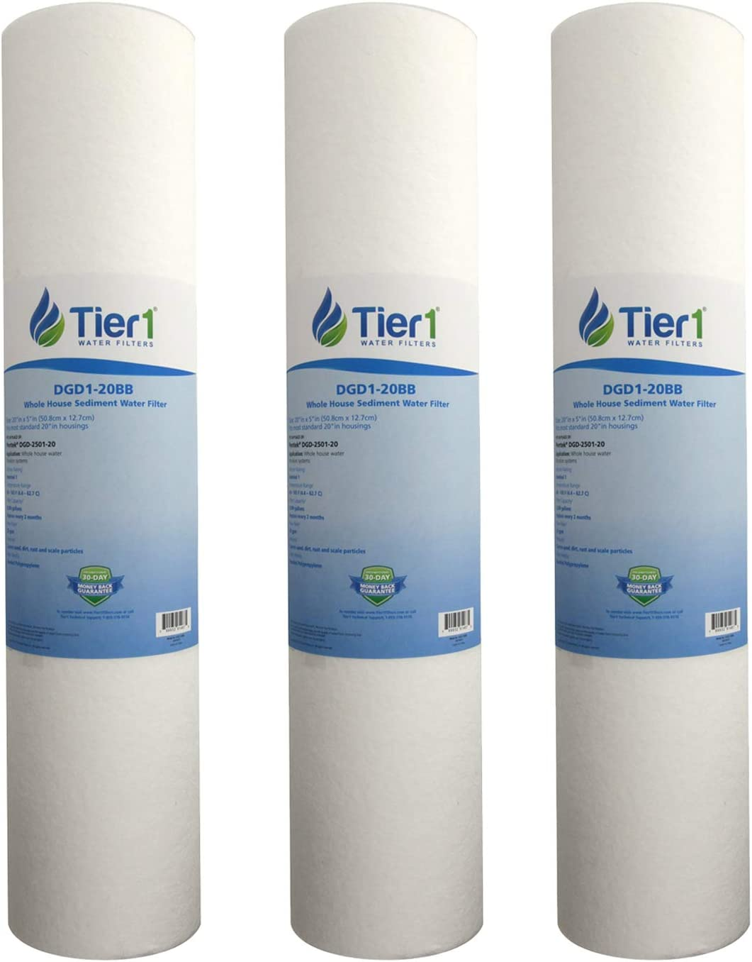 Tier1 DGD-2501-20 1 Micron 20 x 4.5 Spun Wound Polypropylene Sediment Pentek Comparable Replacement Water Filter 3-Pack