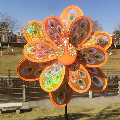 - Amrka Double Layer Peacock Sequins Windmill Colorful Wind Spinner for Kids Toy and Garden Decoration (Orange)