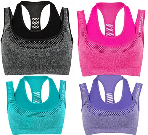 BRABIC Women's Padded Sports Bras with Double Layer Racerback High Impact Pack of 3 (M, GeryRoseBluePurple)