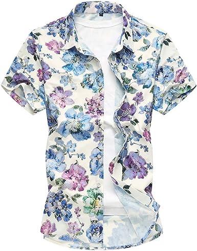 NANSHIZSCS Camisa de hombre Camisa Casual Hawaiana con Estampado Floral, Camisa De Manga Corta para Hombre, Moda, Estilo Social, 7XL: Amazon.es: Ropa y accesorios