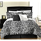 Zebra 6-piece Bed in a Bag Set Black/White Pattern (Twin)