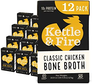 product image for Chicken Bone Broth by Kettle and Fire, Pack of 12, Keto Diet, Paleo Friendly, Whole 30 Approved, Gluten Free, with Collagen, 7g of protein, 16.2 fl oz