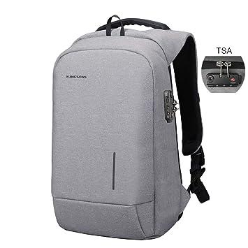 Kingsons - Mochila para Ordenador portátil, con Puerto de Carga USB, Bloqueo TSA,