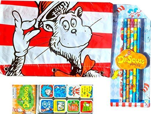 Dr Seuss artes y manualidades Set de regalo Dr Seuss estuche con lápices y Dr Seuss carácter gomas de borrar: Amazon.es: Juguetes y juegos