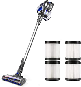 MOOSOO Cordless Vacuum 4 in 1 Powerful Suction Stick Handheld Vacuum Cleaner for Home Hard Floor Carpet Car Pet - XL-618A, Lightweight with 4 Pack HEPA Filter