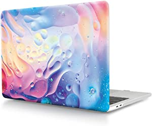 HRH Water Drops Rainbow Pattern Design Laptop Body Shell Protective Hard Case for MacBook New Pro 13 inch with Touch bar A2159 A1706 A1989/ Without Touch bar A1708 A1988(2019 2018 2017 2016 Release)