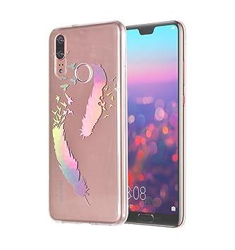 E-Flamingo Funda Huawei P20 Lite Láser Colorido Pluma ...